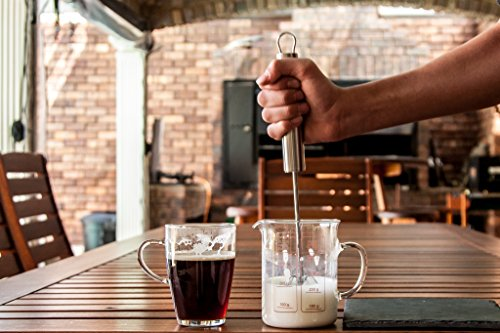 Milk Frother - Froth Wizard Stainless Steel Manual Push Whisk - Perfect Environmentally Friendly Gift - Impress Friends - Restaurant Foam For Coffee, Latte, Cappuccino and Hot Chocolate