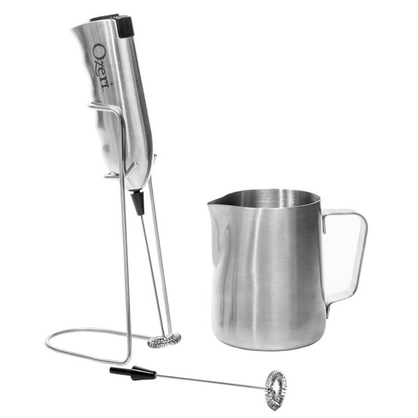Ozeri Deluxe Milk Frother and Whisk in Stainless Steel