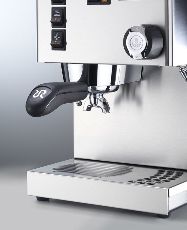 Rancilio Silvia Espresso Machine with an iron frame and stainless steel side panels